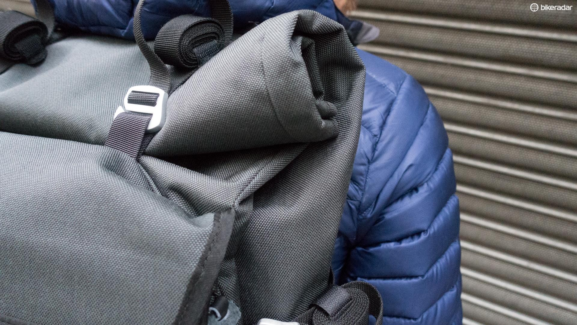Compression straps hold the roll top design down, but an additional four straps on the side allow for creative carrying configurations
