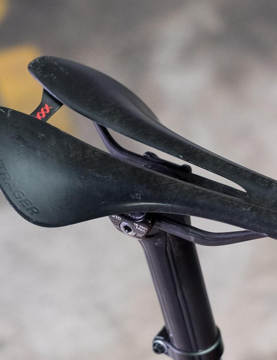 The Bontrager saddle that came with the frame does not weigh a lot but proved to be very firm