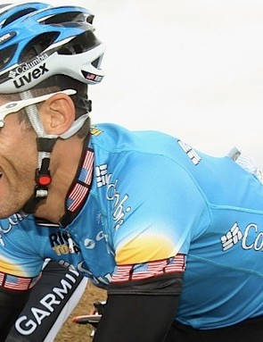 Longtime Oakley user George Hincapie field testing the 2009 Racing Jackets on July 7.