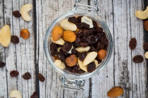 Simple dried fruit and nuts provide easy-to-carry nutrition on the go, and have many essential minerals as well as protein and sugar