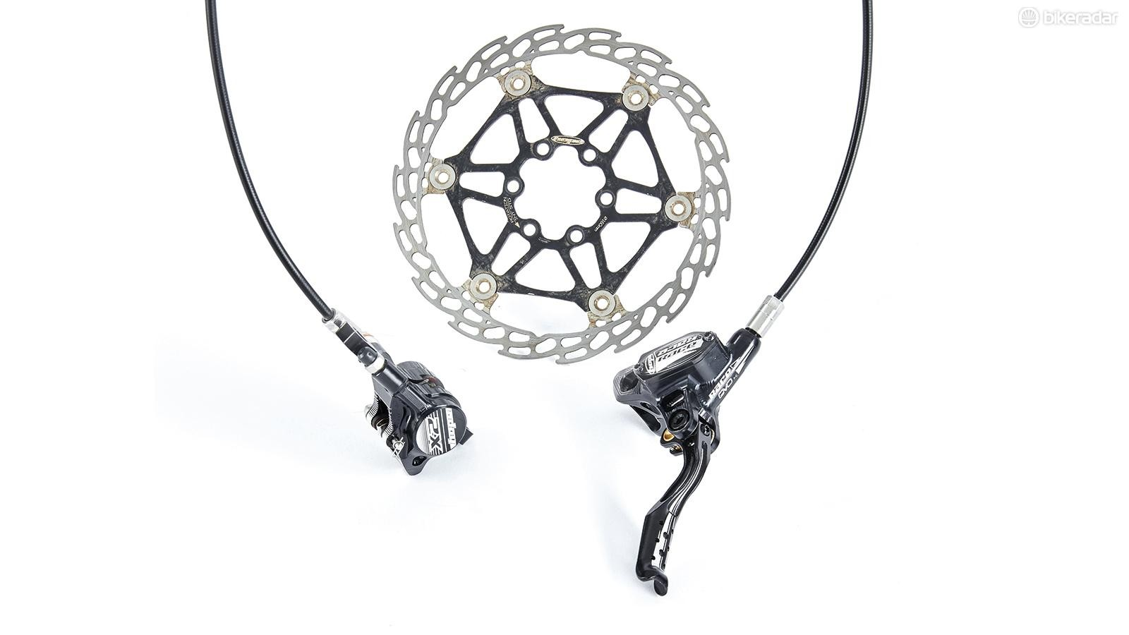 Hope's X2 Race Evo disc brakes are dainty but pretty bombproof