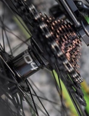 While Hope doesn't make the chain or rear mech, it does make a cassette as seen here. This 11-speed number ranges from 10-48t