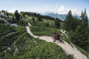 Not all the trails were tight and twisty. Rob begins the descent back into Briançon