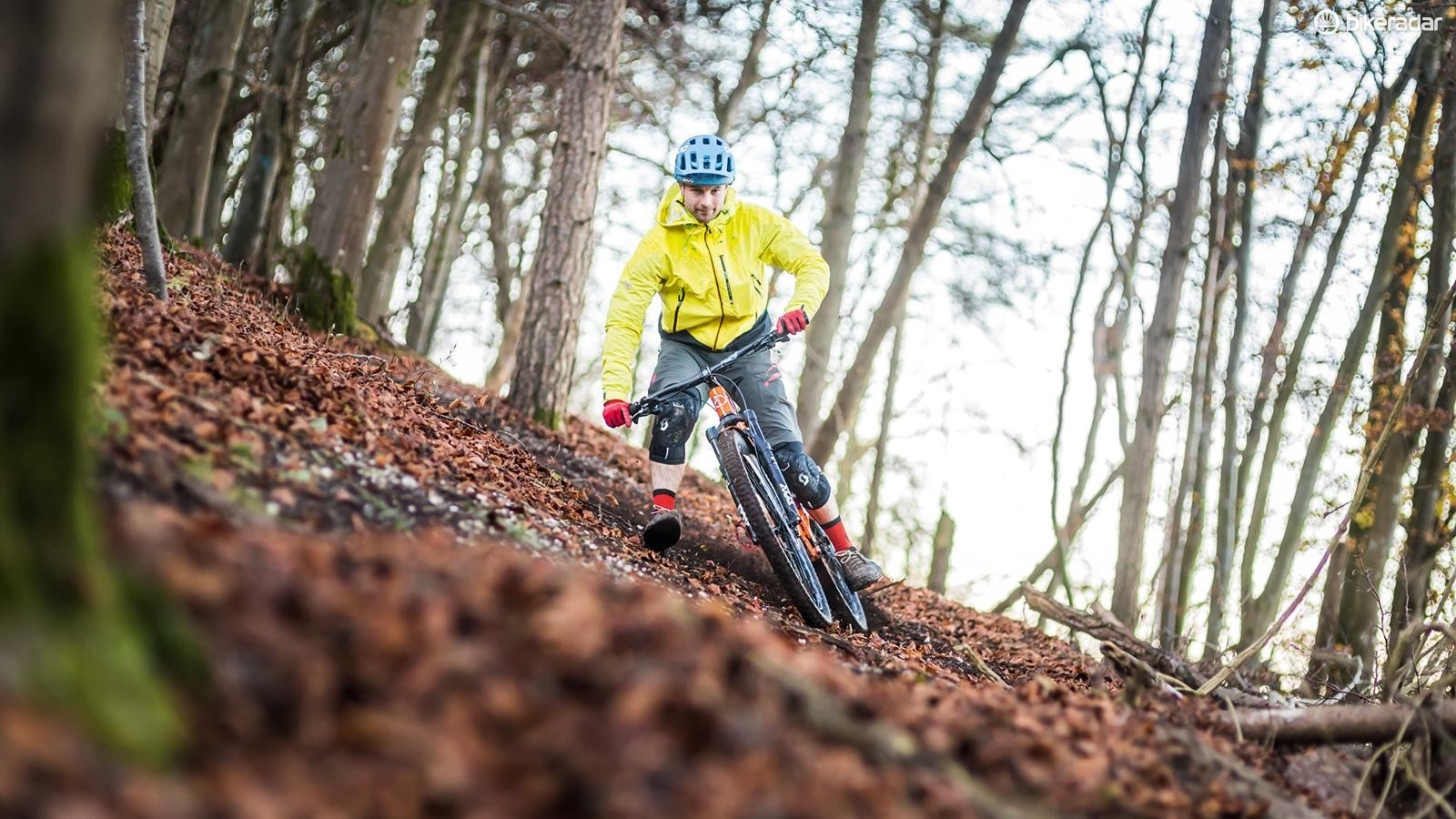 Don't be afraid to put your foot out when riding off-camber sections of trail