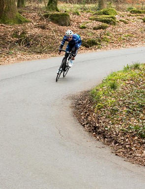 Keeping a bit of weight over the front end makes the front wheel less likely to slip