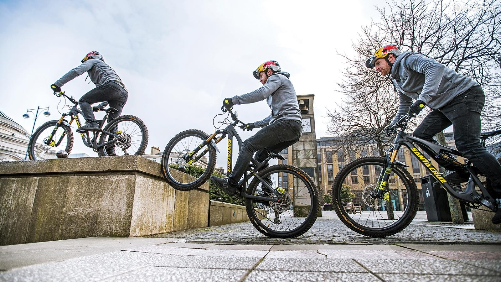 Tap your front wheel on the edge of the obstacle to help bounce yourself up on to it