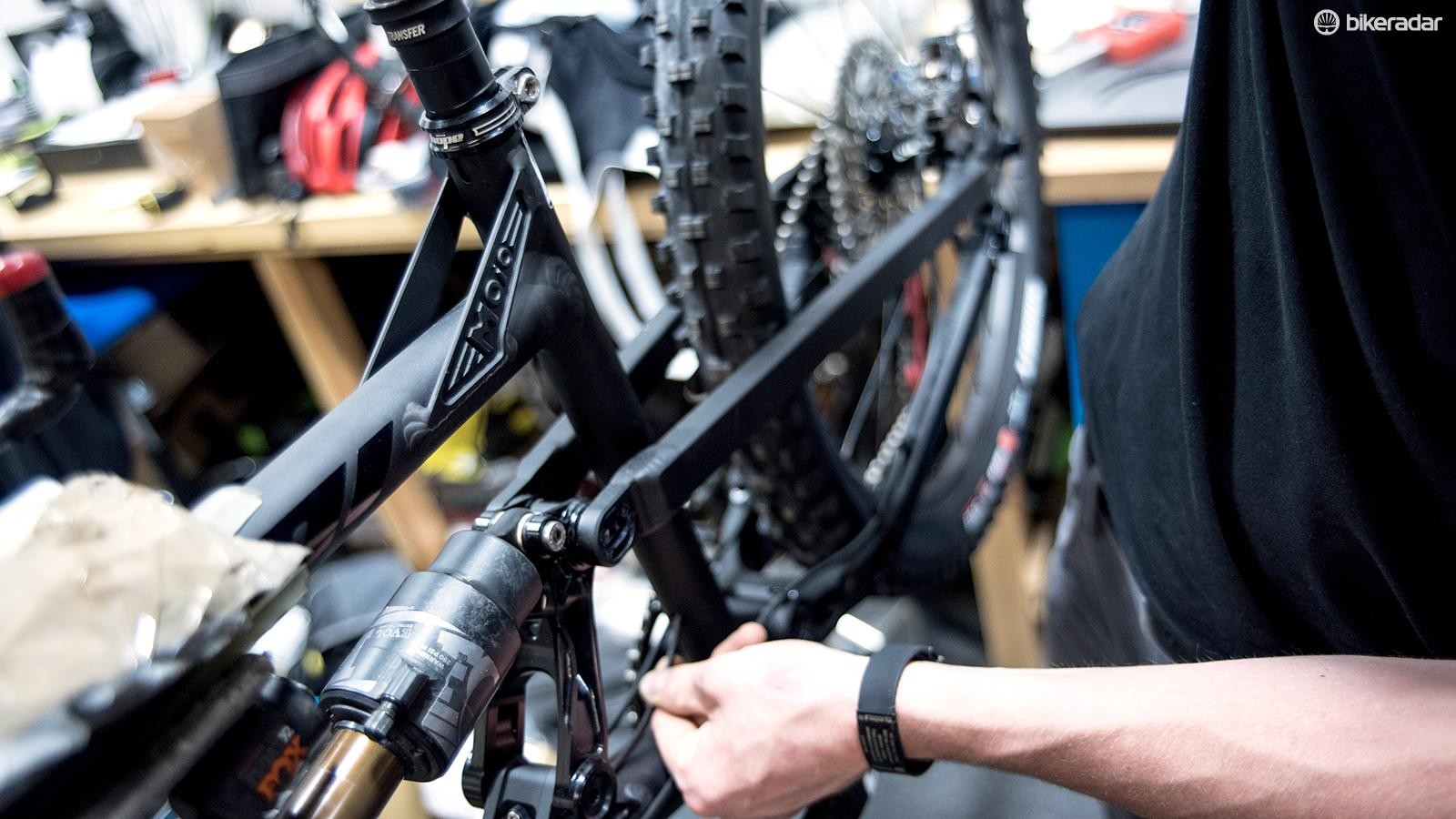 Retighten the seat clamp and any loosened cable fasteners