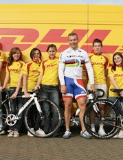 Chris Hoy and members of the Manchester Velodrome.