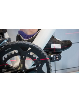 Lasers are used to help align the knee over the pedal spindle