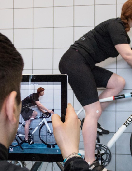 Video analysis with angle-drawing software allows the bike fitter to determine the correct saddle and bar position