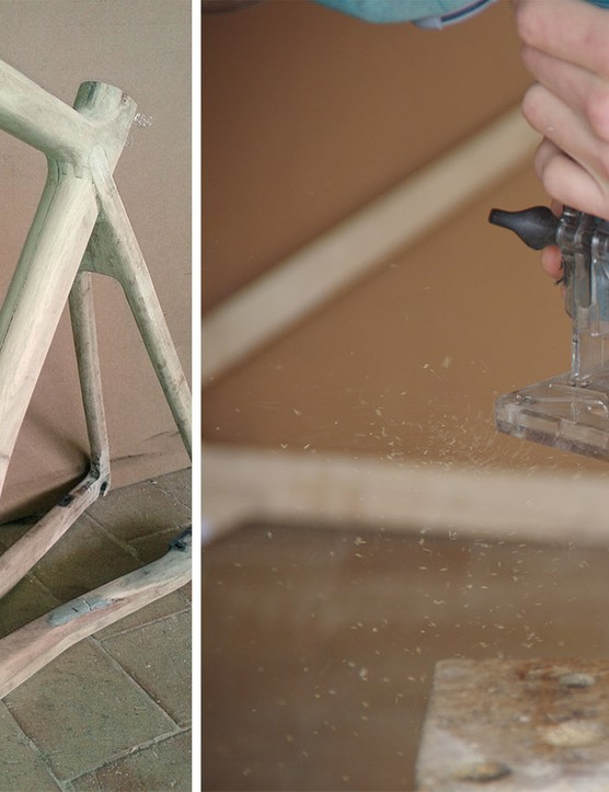 The frames are made completely by hand