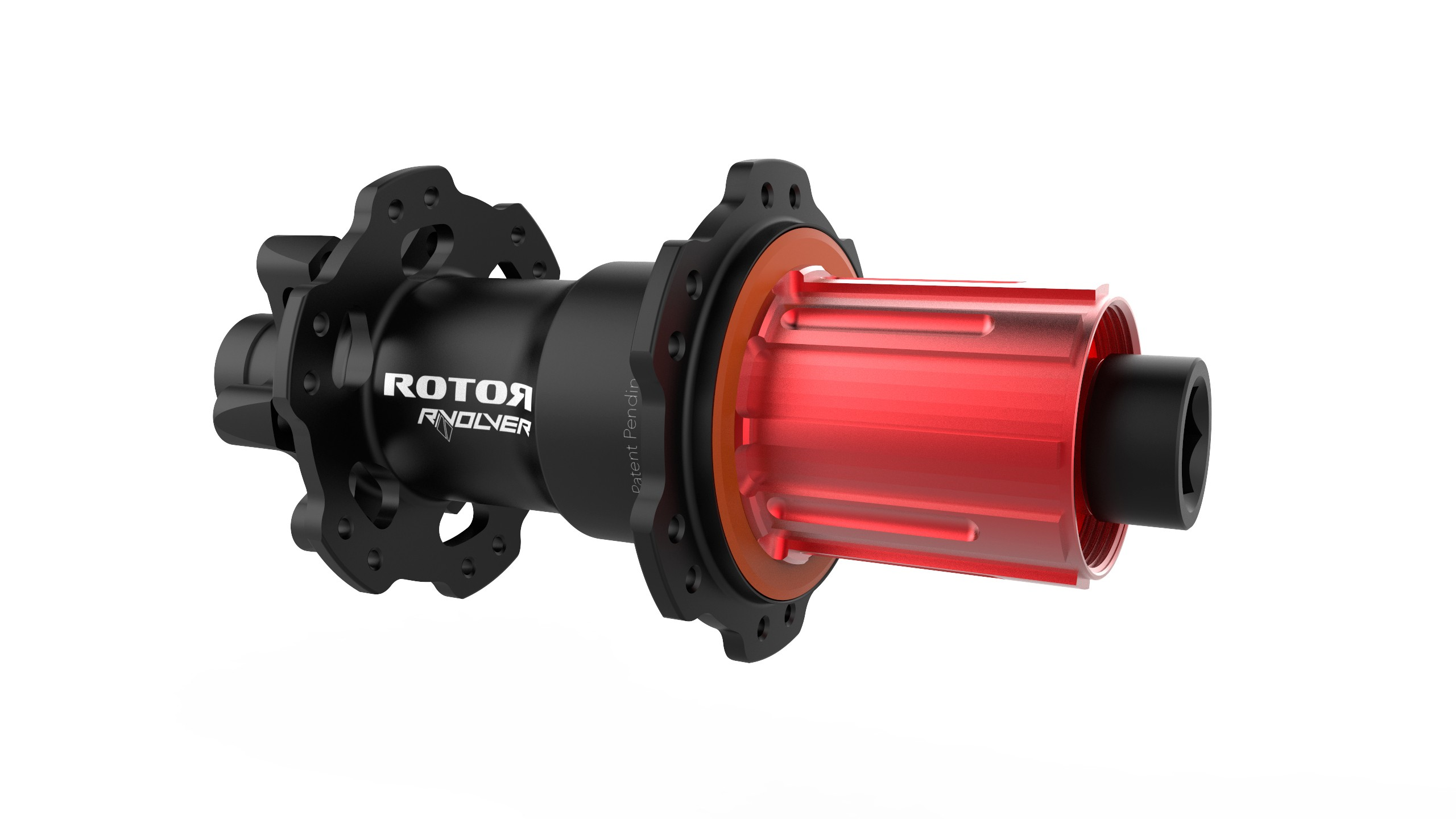 Rotor's RVOLVER hubs are easily distinguished thanks to red anodising at the cassette body