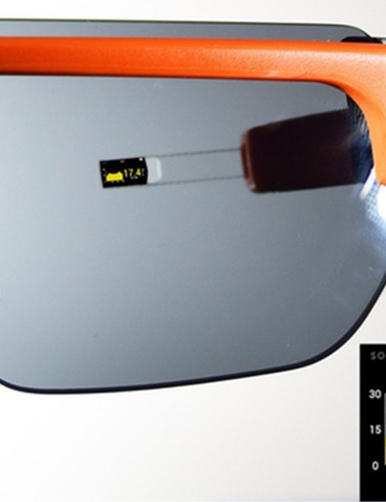 The display's arm can be moved up or down depending on the wearer's preference