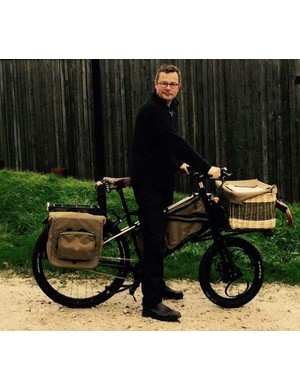 TV chef Hugh Fearnley-Whittingstall, trying out the new Forager bike