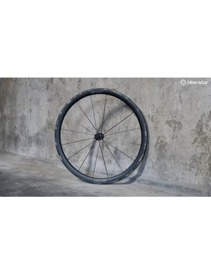 This is Hunt's new carbon-spoked, carbon-rimmed, prototype wheelset