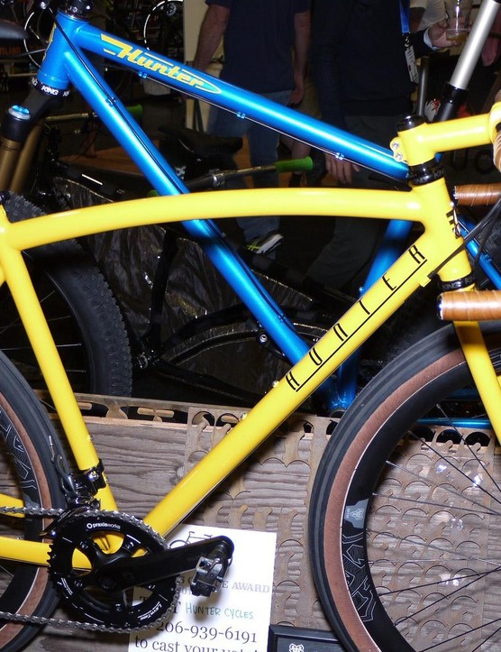 The bright yellow paint and curved tubes of Rick Hunter's adventure bike are awesome. The matching stem and Simworks handlebar and seatpost complete the package.