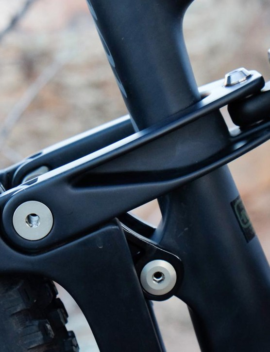 The clevis link drives the shock. The Ripmo has 145mm of rear suspension travel