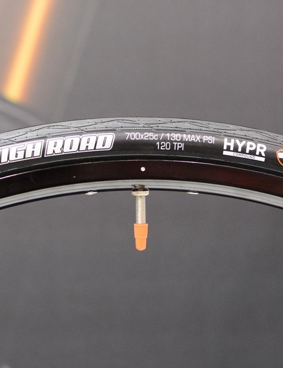 Maxxis has a new flagsip road tyre called the High Road. Initially available in 25mm only, it has a 120tpi casing and uses Maxxis' new HYPR compound which claims to lower rolling resistance while increasing wet traction. It weighs a claimed 210g
