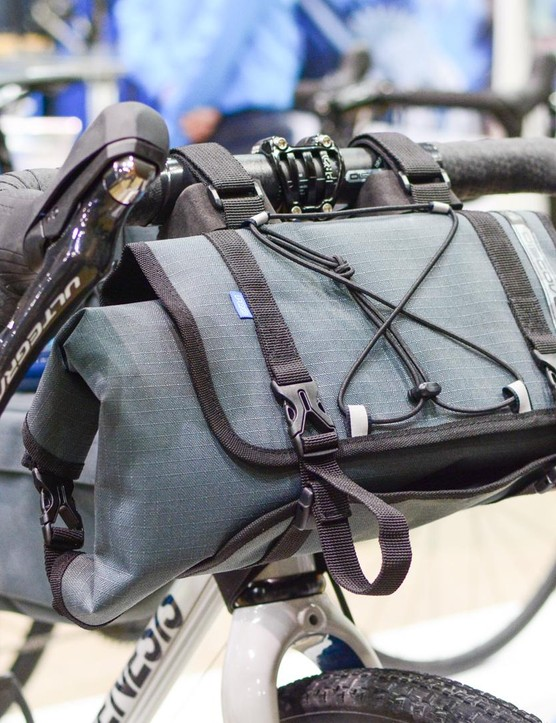 PRO was showing off a complete range of bikepacking luggage including this substantial bar bag with a removable central roll