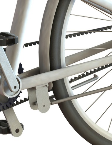 There's a belt drive instead of a chain, good for 15,000km of maintenance-free riding