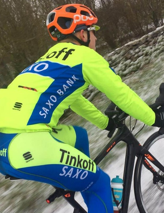 Our social media manager goes full-Euro-fluoro in the 2015 Tinkoff-Saxo kit from Sportful