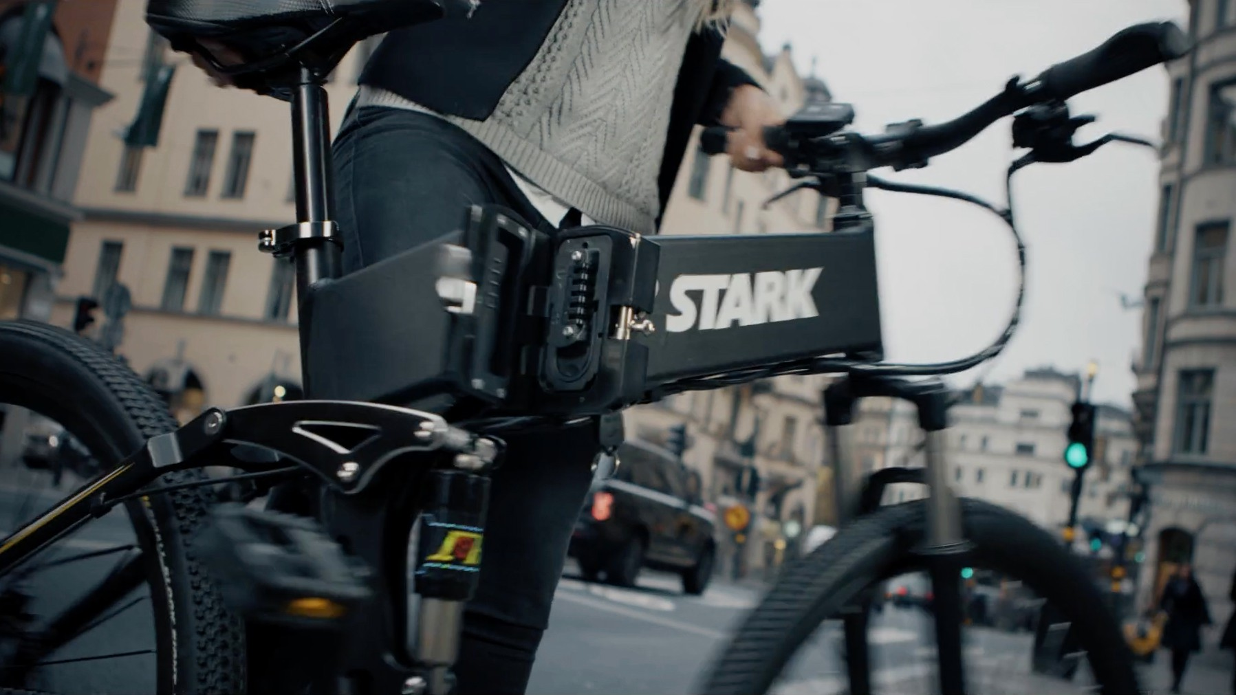 Foldability makes the Stark Drive more secure for storing on city streets, according to the company