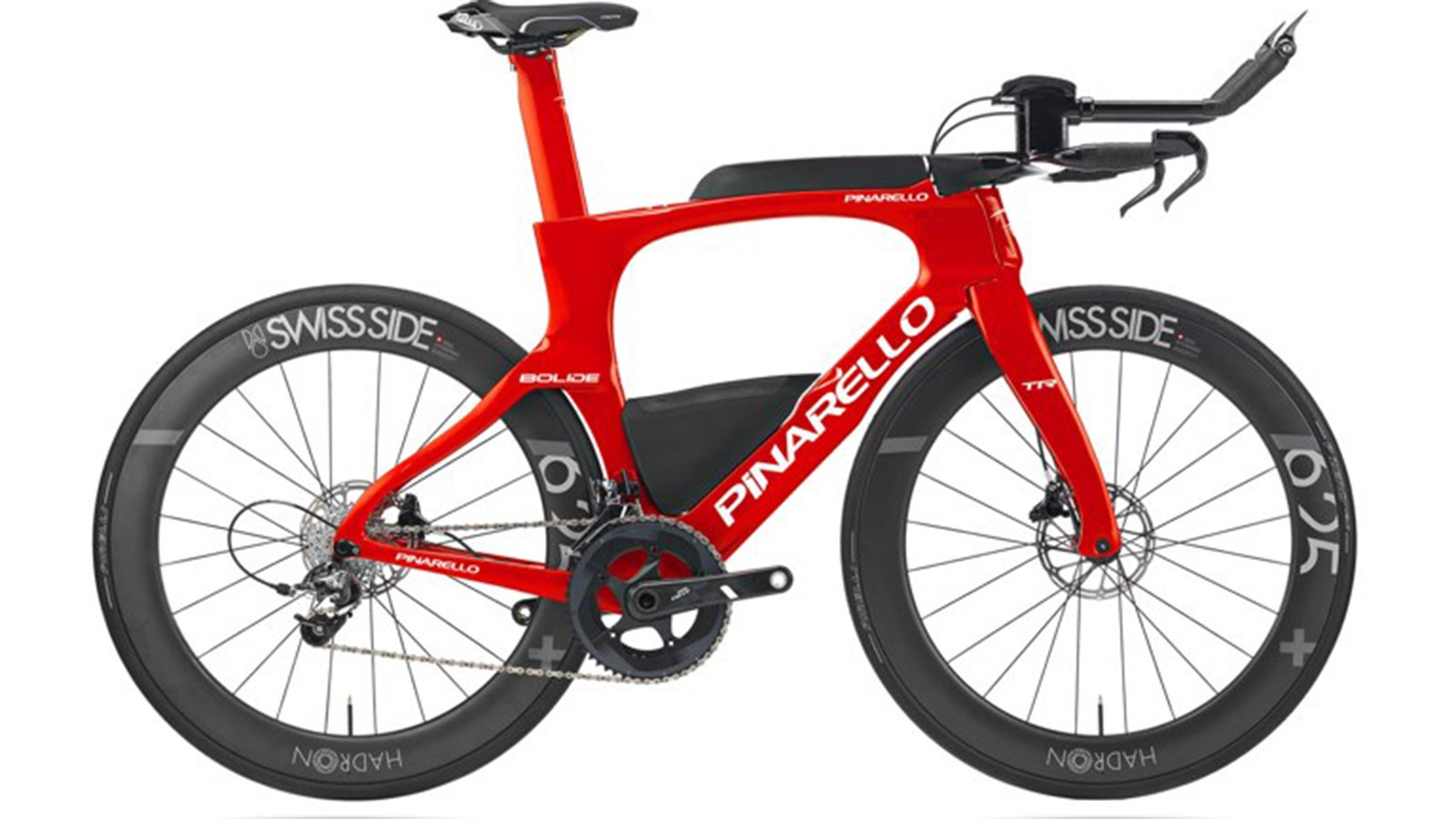 The bike is equipped with disc brakes