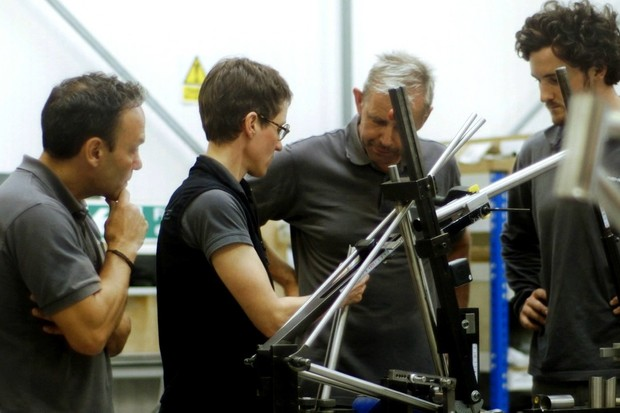 Islabikes founder Isla Rowntree (second from left) wants to get rid of waste in the bike industry