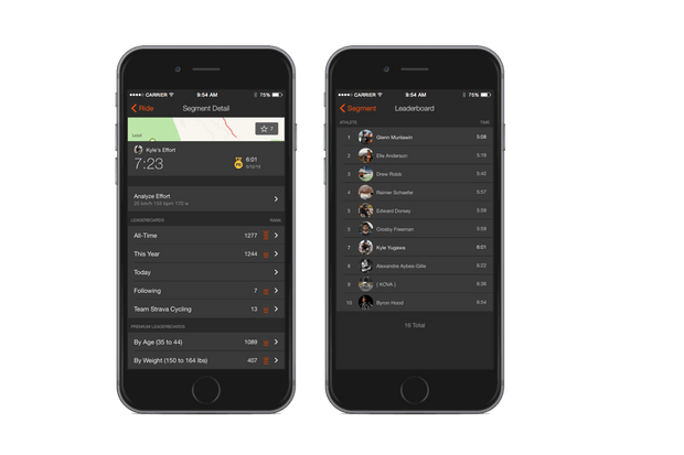 Filter leaderboards with Strava Premium