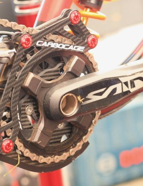 Manon Carpenter's CarboCage chain guide looks light, with a reinforced carbon bash and alloy roller