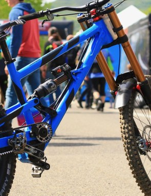 This Nicolai DH bike allows a Effigear gearbox to be used with a standard SRAM shifter