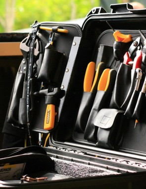 Chappie's tool box is well ordered and stuffed to the gunnells with Pedros tools
