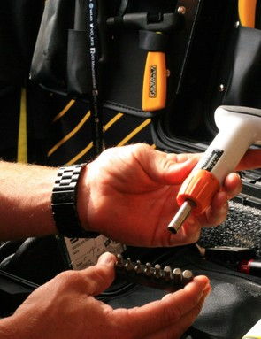 While larger hex keys are quick and easy to use, a more precise torque tool is used for the final touches