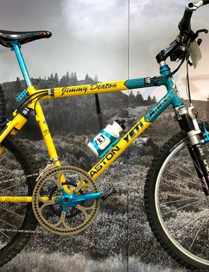 Jimmy Deaton's 1992 Yeti ARC-AS, which won the 1993 Mammoth Mountain Kamikaze downhill race. The front chainring has 66-teeth