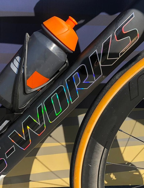 The S-Works decals on the down tube add a touch of colour on the raw carbon finish