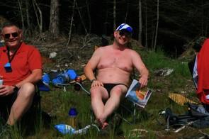 Tesco magazine, leopard skin deckchair, beer and Scotland cap — check. Sun screen and midge spray, apparently not!