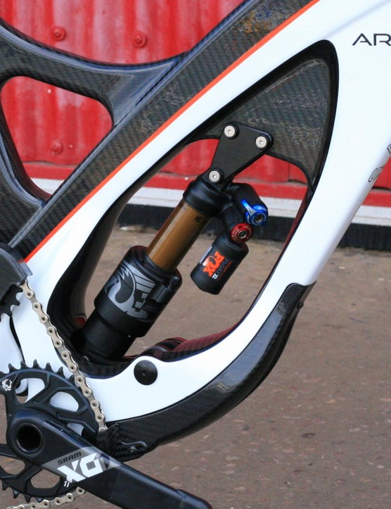 The shock's low position in the frame aids weight distribution