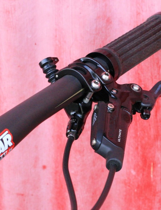 This test bike comes with a high-end build — SRAM Guide Ultimates sit on a Renthal Fatbar Carbon