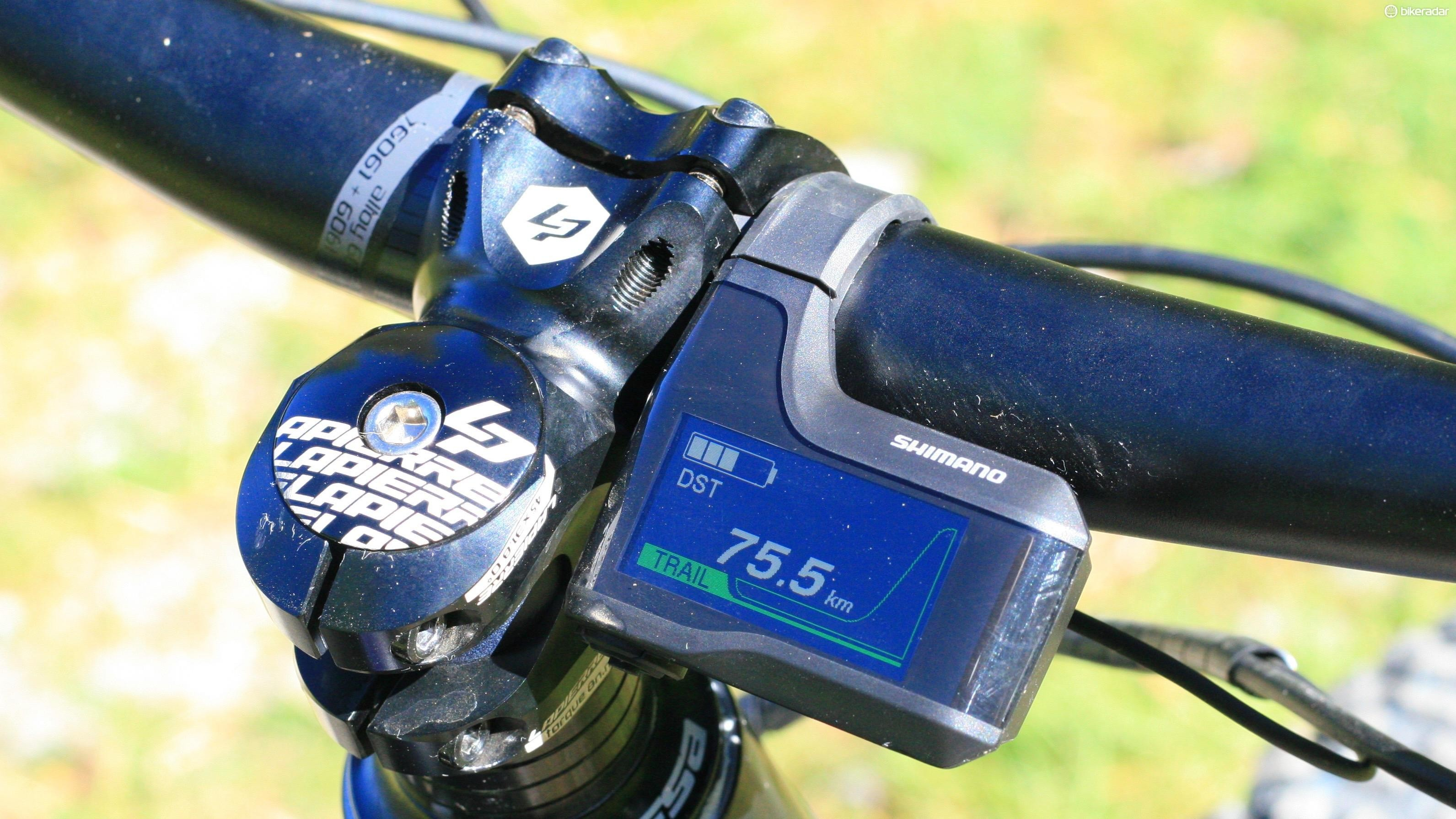 The Shimano Steps display is super easy to read, thanks to its bright display and colour-coded mode information