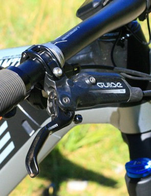The Guide RE is a brake you'll see on a lot of ebikes — simple lever design and a four-pot caliper give reasonable power