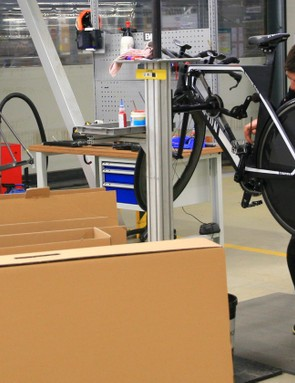 Bikes that need a more detailed build, such as this Speedmax, get more individual treatment during assembly