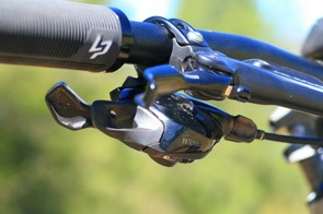 SRAM's EX1 shifter only allows a single shift — good under power on e-bikes. Lapierre asked SRAM to make a GX 11-speed shifter with the same design