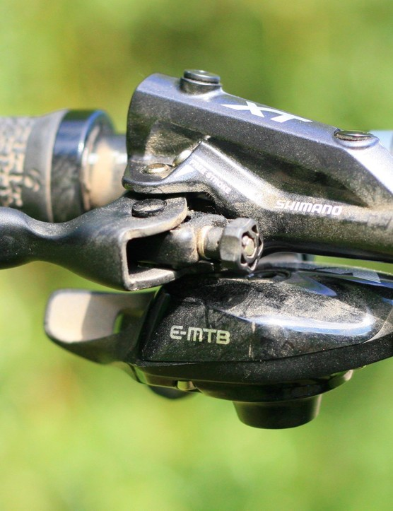 The e-MTB version of SRAM's GX Eagle shifter only allows one gear shift at a time