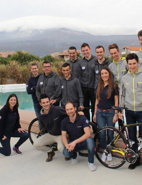 Hutchinson reps, with the two pro cycling teams they sponsor – Direct Energie and Armée de Terre