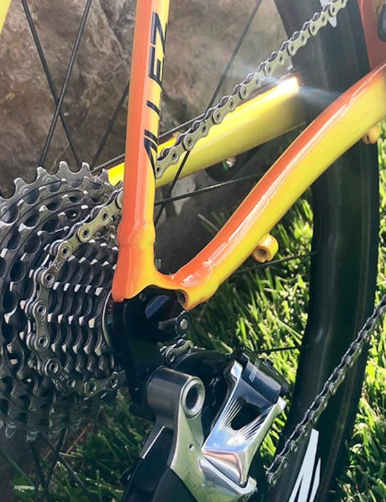 The frame's gear cable guides are redundant when running a wireless electronic groupset