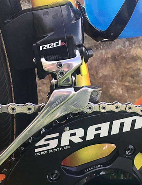 SRAM Red eTap components include batteries for each component and so are more bulky than some other electronic shifters