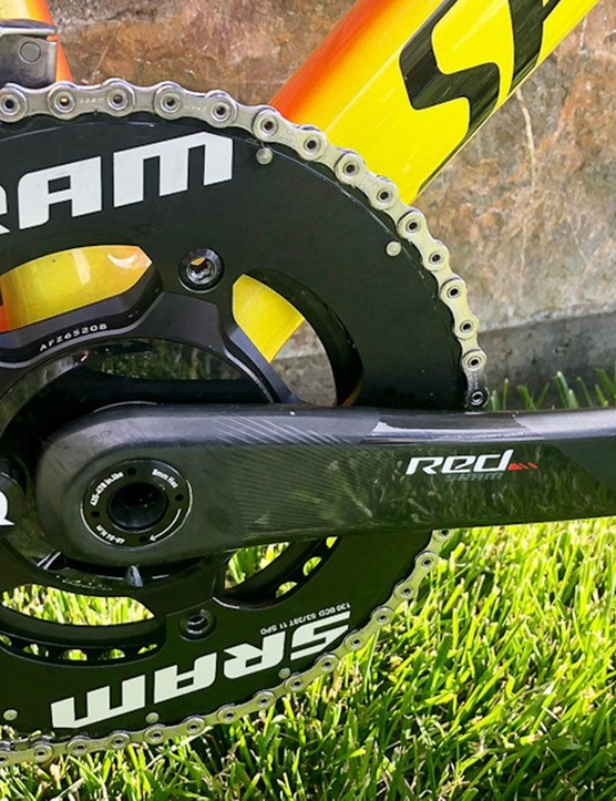 The SRAM Red crankset is equipped with a Quarq power meter