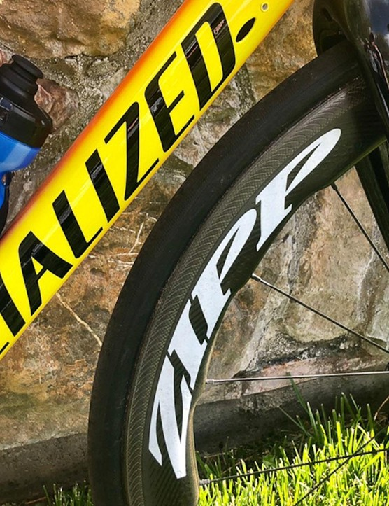 Bold decals from Specialized and Zipp standout on the bike