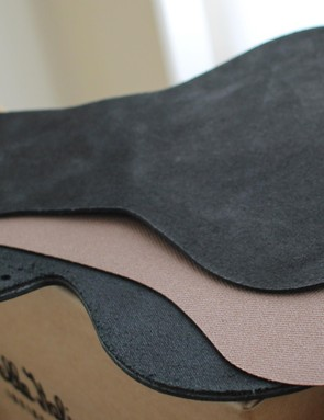 The material is made up of three layers – two leather (upper and lower), with a mesh in the middle