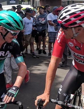 Jay McCarthy catches up with Adam Hansen at the start of the race